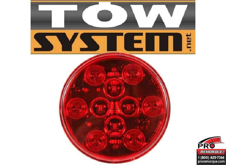 "TOW SYSTEM 341 LED 4"" RONDE SCELLE ROUGE"