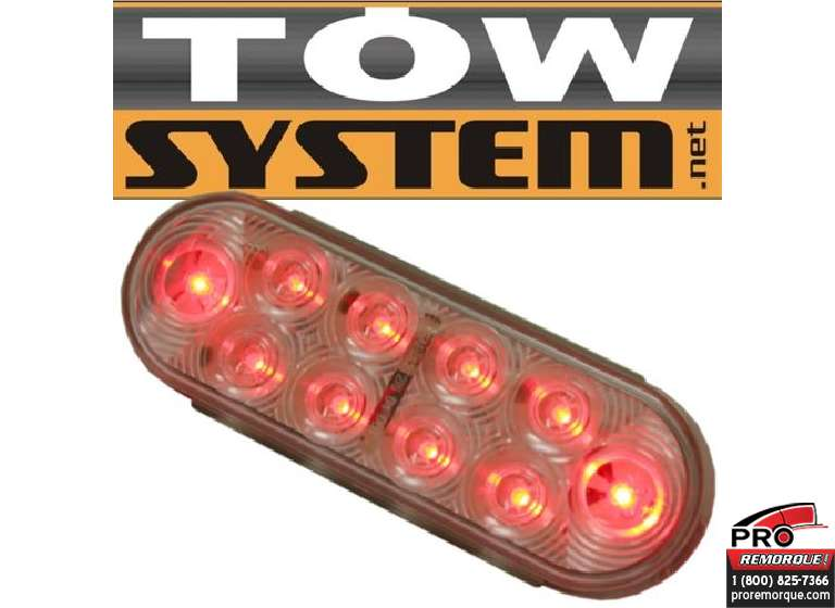 TOW SYSTEM 348CR LUM.OVALE LED ROUGE (FOND BL.)