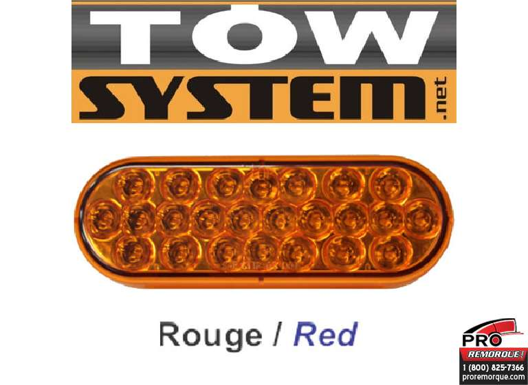 "351R LUMIERE 24 LED OVALE 6"" ROUGE"