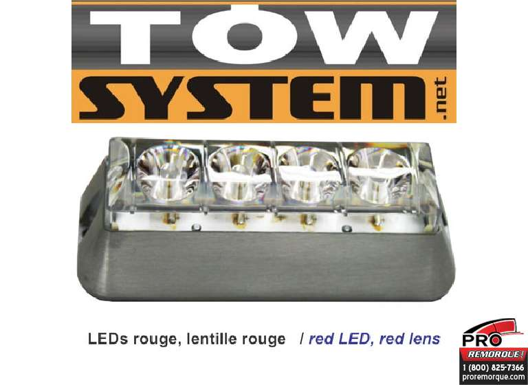 TOW SYSTEM 553R LUMIERE STROBE,4LED/LENS ROUGE