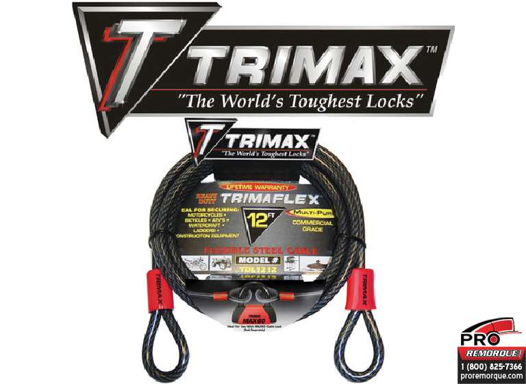 TDL1212 CABLE SECURITE 12'x12mm TRIMAX