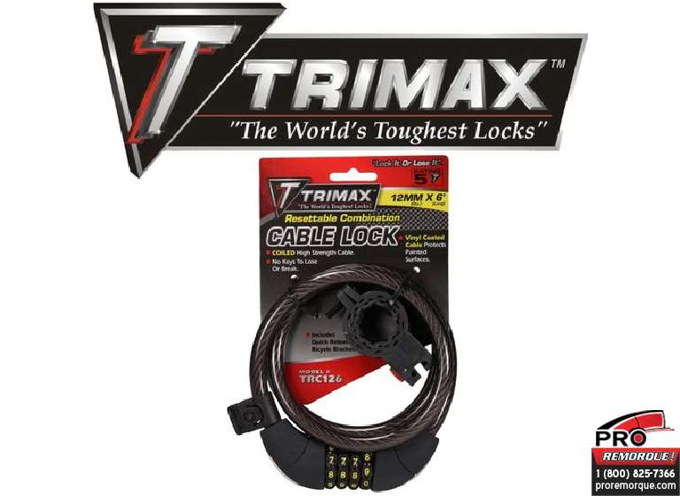 TRIMAX  TRC126 CADENAS CABLE 12MM X 6' COMBIN